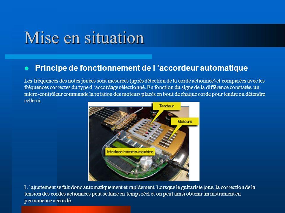 Mise en situation Principe de fonctionnement de l accordeur automatique Les fréquences des notes jouées sont mesurées (après détection de la corde actionnée) et comparées avec les fréquences correctes du type d accordage sélectionné.
