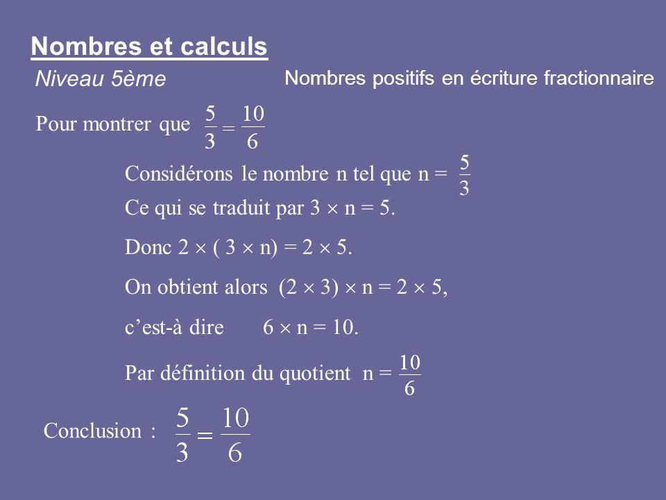 Considérons le nombre n tel que n = Conclusion : Ce qui se traduit par 3 n = 5. Donc 2 ( 3 n) = 2 5. On obtient alors (2 3) n = 2 5, cest-à dire 6 n =