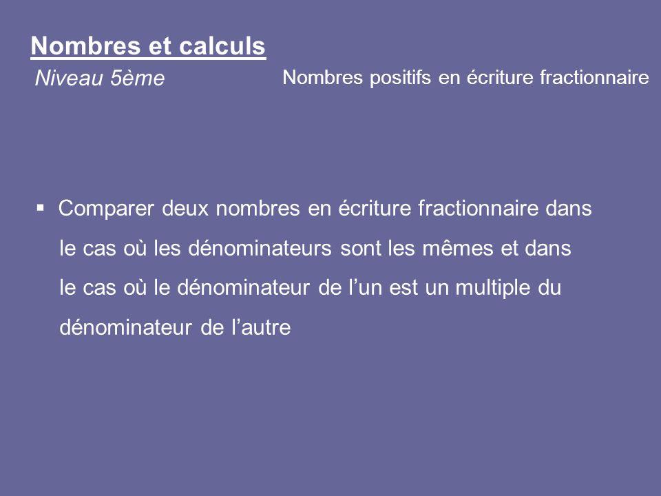 Comparer deux nombres en écriture fractionnaire dans le cas où les dénominateurs sont les mêmes et dans le cas où le dénominateur de lun est un multip