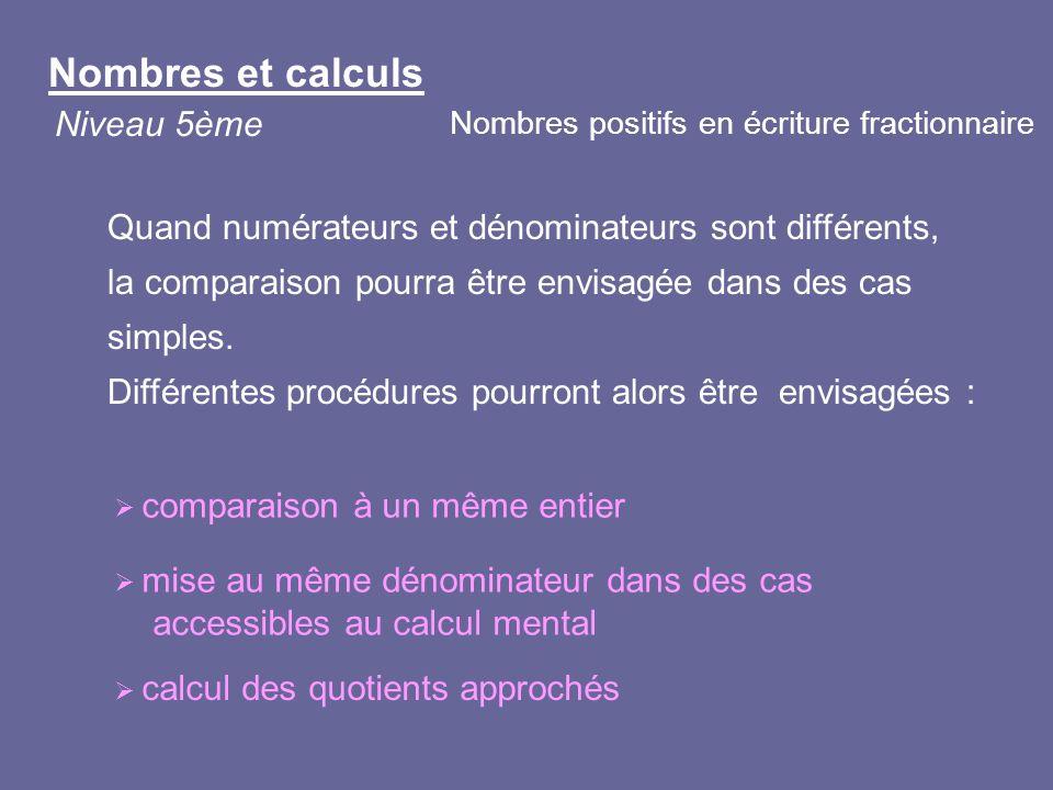 comparaison à un même entier mise au même dénominateur dans des cas accessibles au calcul mental calcul des quotients approchés Quand numérateurs et d