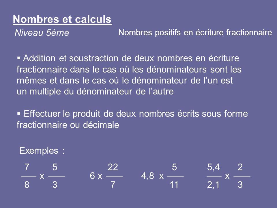 Exemples : 7 5 x 8 3 22 6 x 7 5,4 2 x 2,1 3 Addition et soustraction de deux nombres en écriture fractionnaire dans le cas où les dénominateurs sont l