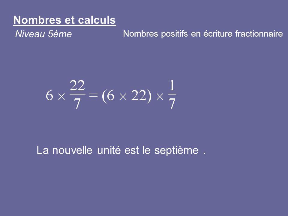 La nouvelle unité est le septième. Nombres et calculs Niveau 5ème Nombres positifs en écriture fractionnaire
