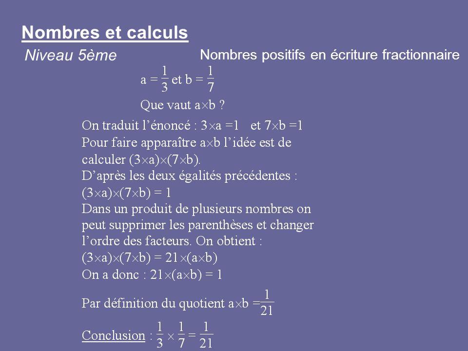 Nombres et calculs Niveau 5ème Nombres positifs en écriture fractionnaire