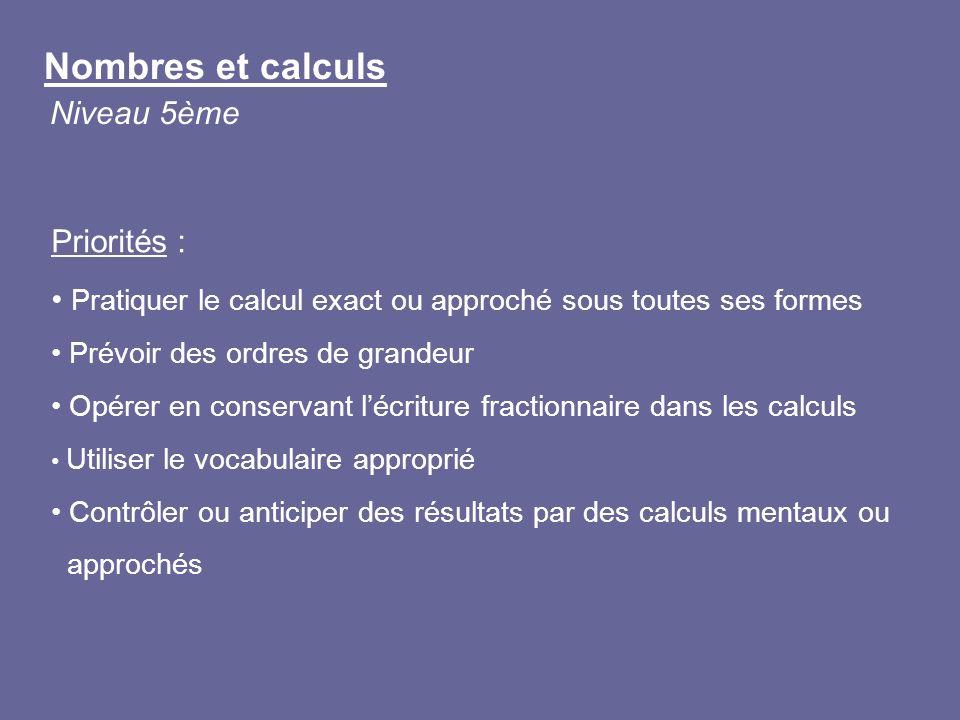 Nombres et calculs Niveau 5ème Priorités : Pratiquer le calcul exact ou approché sous toutes ses formes Prévoir des ordres de grandeur Opérer en conse