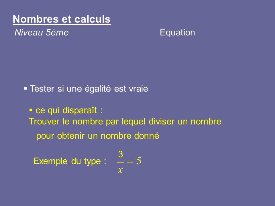 Tester si une égalité est vraie ce qui disparaît : Trouver le nombre par lequel diviser un nombre pour obtenir un nombre donné Nombres et calculs Nive