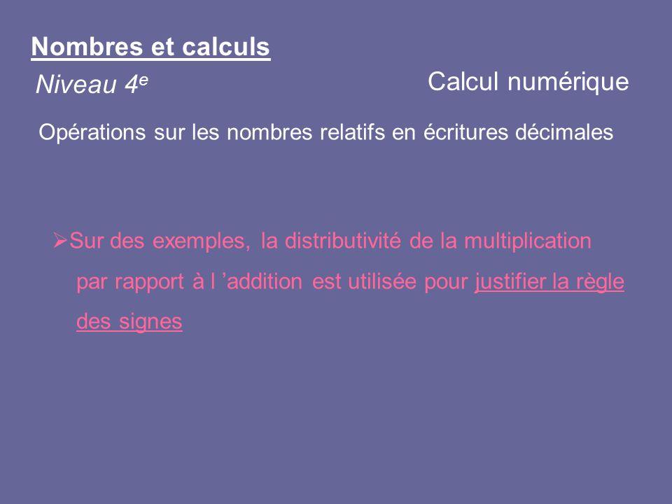 Nombres et calculs Niveau 4 e Sur des exemples, la distributivité de la multiplication par rapport à l addition est utilisée pour justifier la règle d