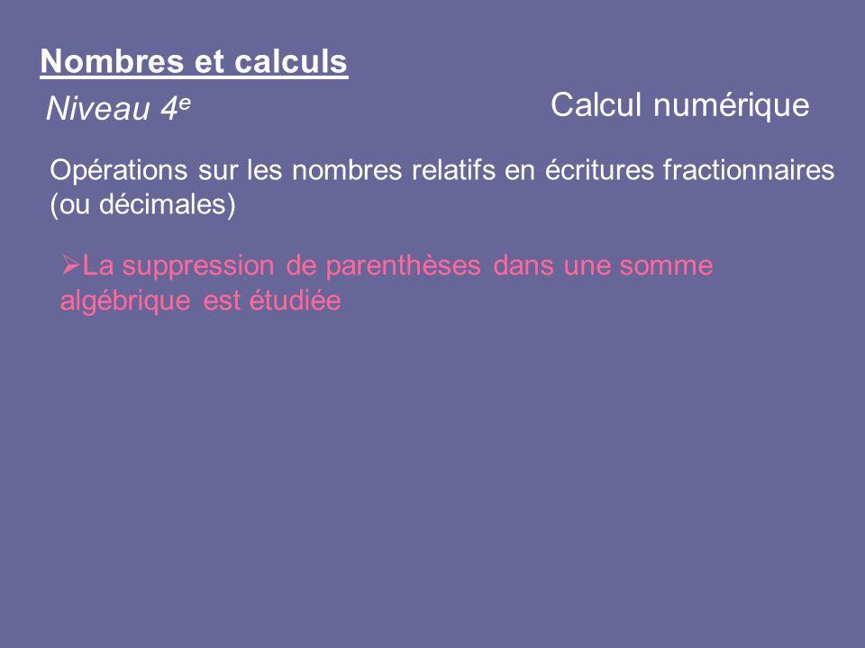 Nombres et calculs Niveau 4 e La suppression de parenthèses dans une somme algébrique est étudiée Calcul numérique Opérations sur les nombres relatifs