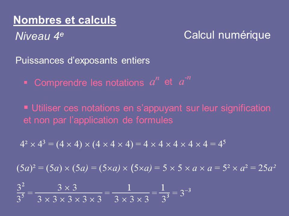 Nombres et calculs Niveau 4 e Puissances dexposants entiers Comprendre les notations et Calcul numérique Utiliser ces notations en sappuyant sur leur