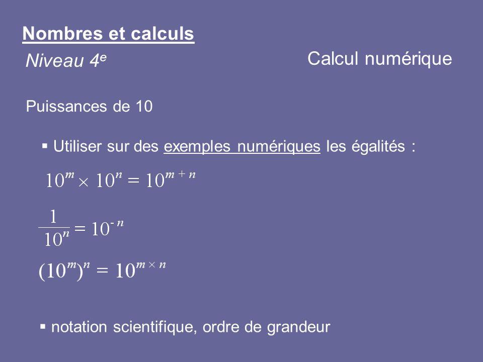 Nombres et calculs Niveau 4 e Calcul numérique Puissances de 10 Utiliser sur des exemples numériques les égalités : notation scientifique, ordre de gr