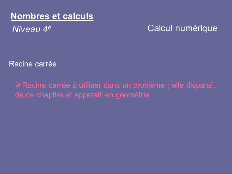 Nombres et calculs Niveau 4 e Racine carrée Racine carrée à utiliser dans un problème ; elle disparaît de ce chapitre et apparaît en géométrie Calcul