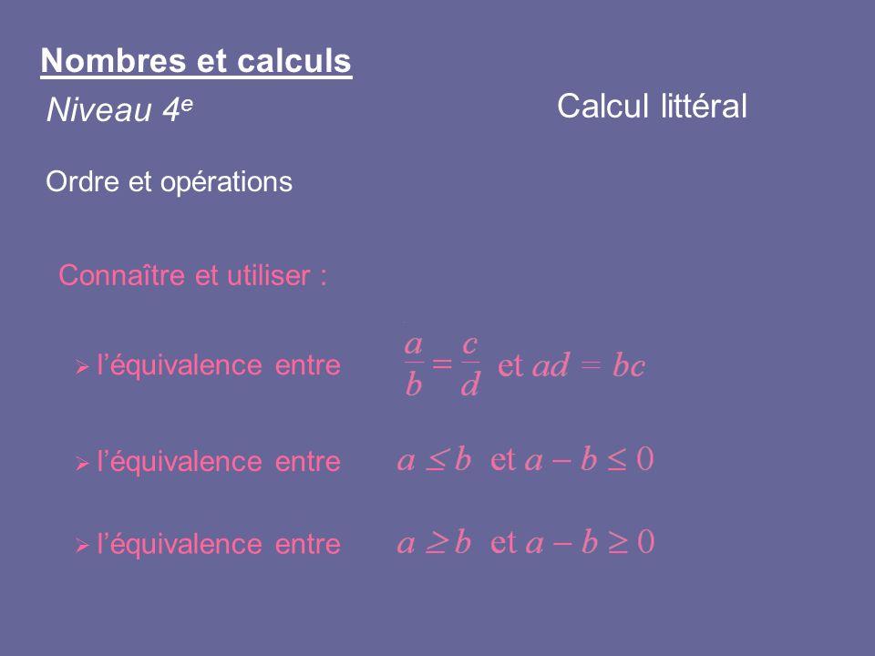 Nombres et calculs Niveau 4 e Ordre et opérations Connaître et utiliser : léquivalence entre Calcul littéral