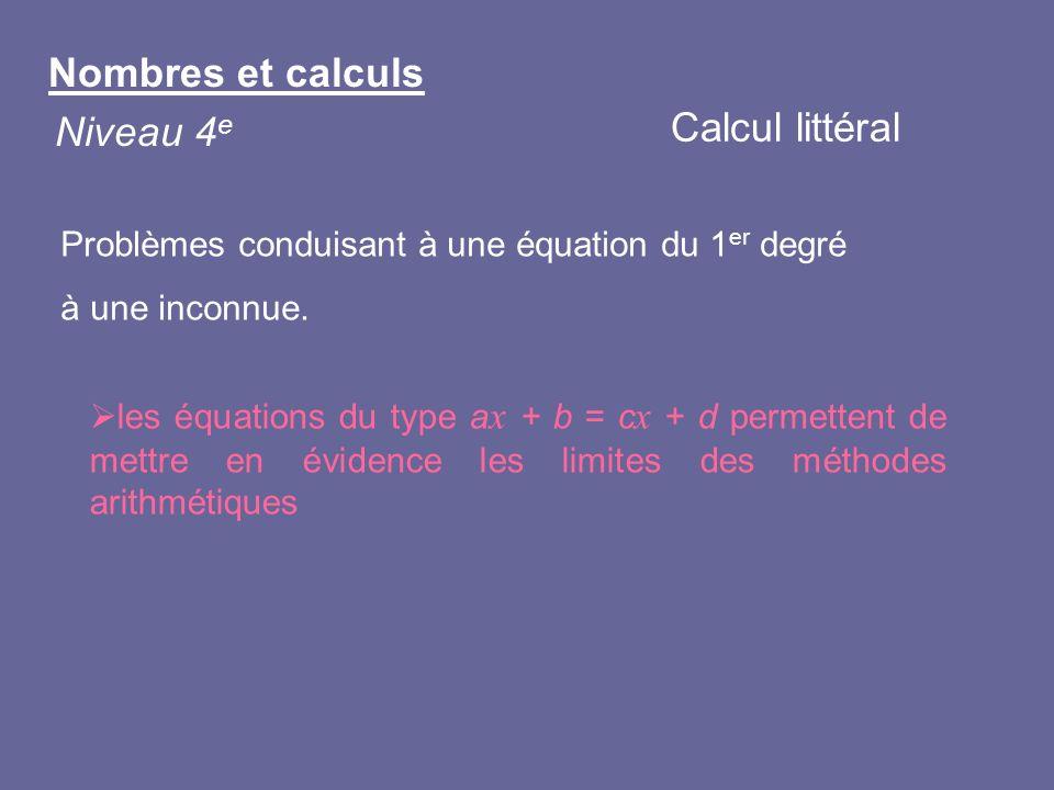 Problèmes conduisant à une équation du 1 er degré à une inconnue. les équations du type a x + b = c x + d permettent de mettre en évidence les limites
