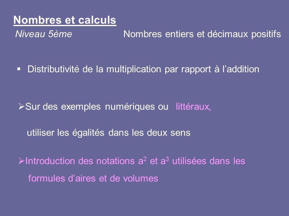 Nombres et calculs Niveau 5èmeNombres entiers et décimaux positifs Distributivité de la multiplication par rapport à laddition Sur des exemples numéri