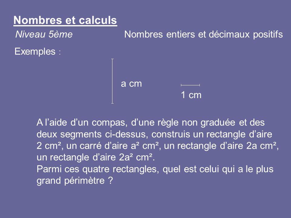 A laide dun compas, dune règle non graduée et des deux segments ci-dessus, construis un rectangle daire 2 cm², un carré daire a² cm², un rectangle dai