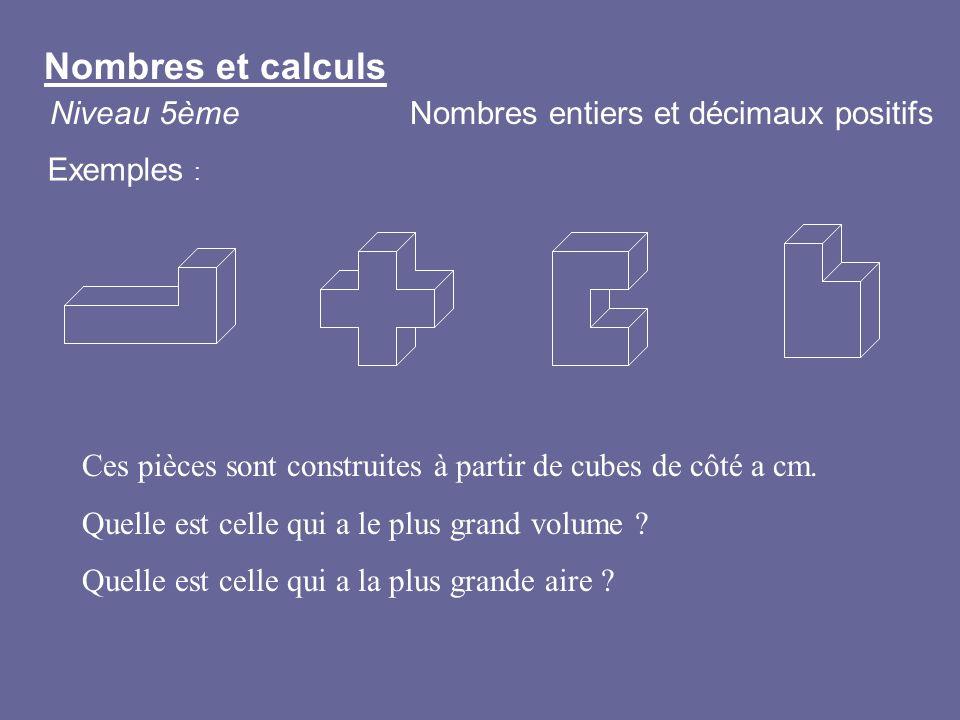 Ces pièces sont construites à partir de cubes de côté a cm. Quelle est celle qui a le plus grand volume ? Quelle est celle qui a la plus grande aire ?
