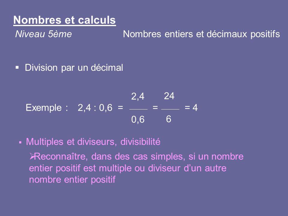 Division par un décimal Exemple : Multiples et diviseurs, divisibilité Reconnaître, dans des cas simples, si un nombre entier positif est multiple ou