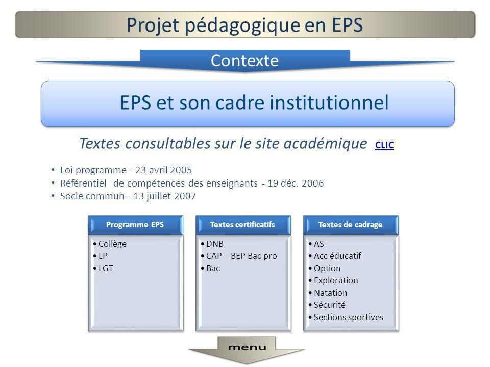 EPS et son cadre institutionnel Textes consultables sur le site académique CLIC CLIC Loi programme - 23 avril 2005 Référentiel de compétences des ense