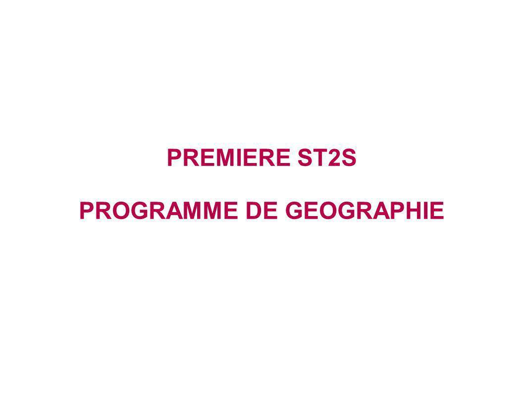 PREMIERE ST2S PROGRAMME DE GEOGRAPHIE