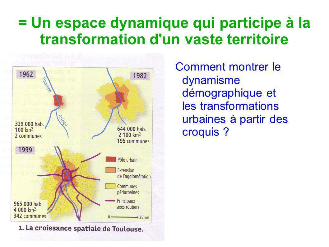 = Un espace dynamique qui participe à la transformation d'un vaste territoire Comment montrer le dynamisme démographique et les transformations urbain