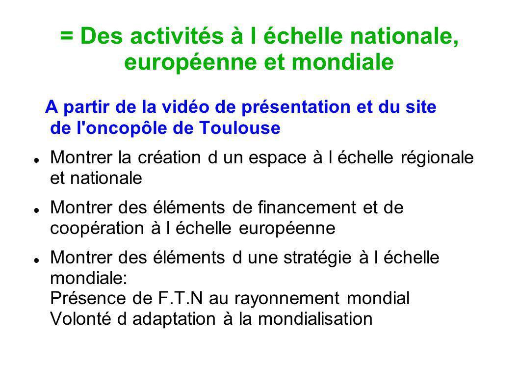 = Des activités à l échelle nationale, européenne et mondiale A partir de la vidéo de présentation et du site de l'oncopôle de Toulouse Montrer la cré