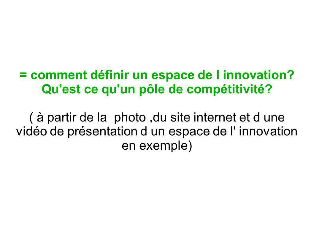 = comment définir un espace de l innovation? Qu'est ce qu'un pôle de compétitivité? ( à partir de la photo,du site internet et d une vidéo de présenta