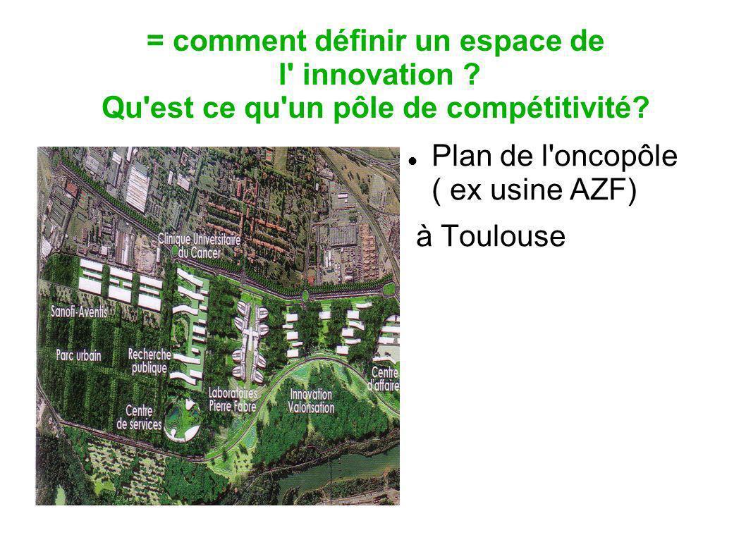 = comment définir un espace de l' innovation ? Qu'est ce qu'un pôle de compétitivité? Plan de l'oncopôle ( ex usine AZF) à Toulouse