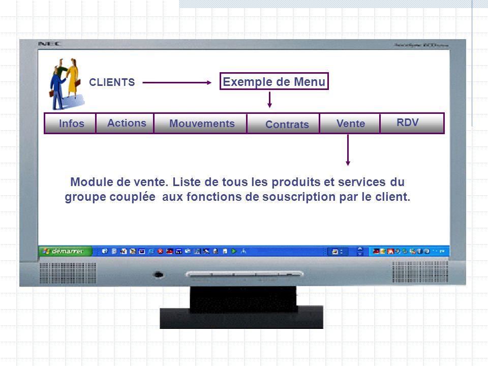 CLIENTS Exemple de Menu Mouvements Contrats Vente RDV Actions Infos Module de vente.