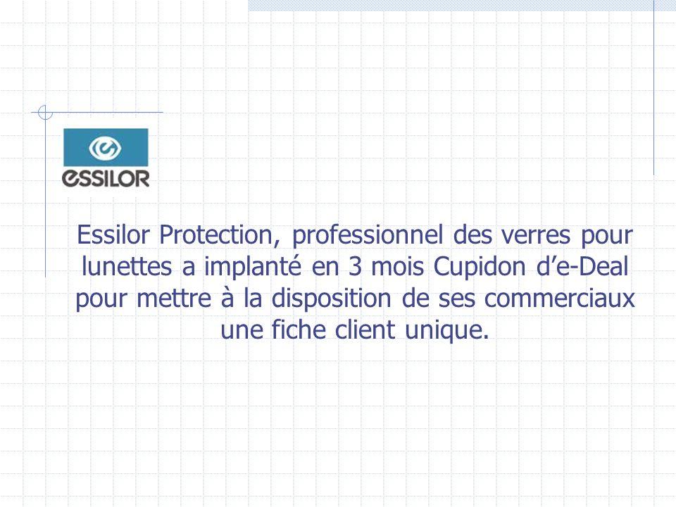Essilor Protection, professionnel des verres pour lunettes a implanté en 3 mois Cupidon de-Deal pour mettre à la disposition de ses commerciaux une fiche client unique.
