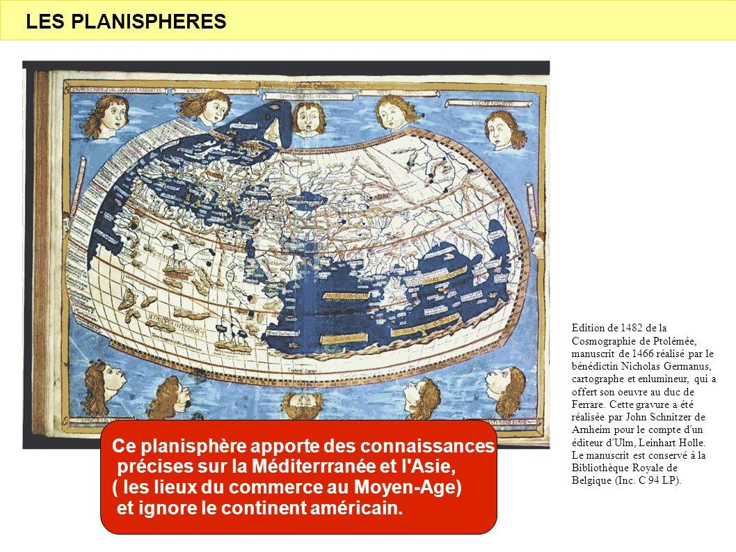 Edition de 1482 de la Cosmographie de Ptolémée, manuscrit de 1466 réalisé par le bénédictin Nicholas Germanus, cartographe et enlumineur, qui a offert