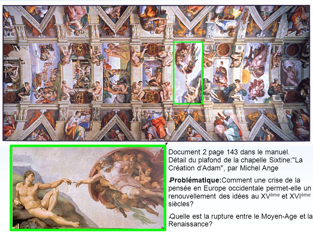 Document 2 page 143 dans le manuel. Détail du plafond de la chapelle Sixtine: