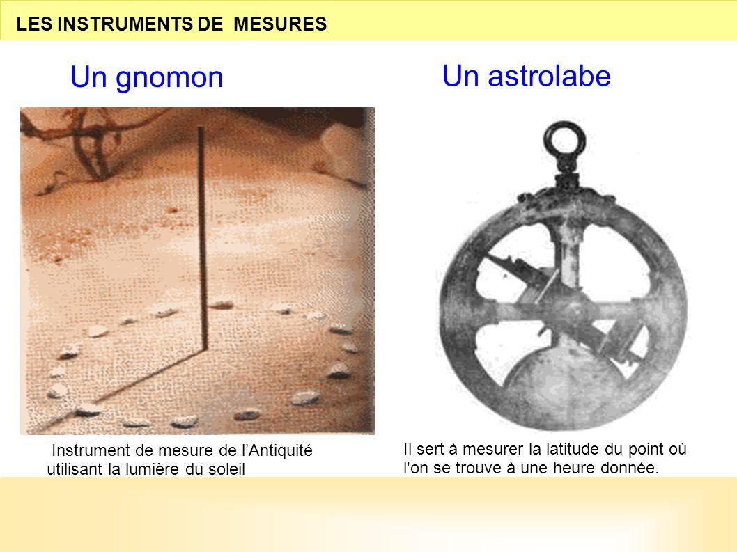LES INSTRUMENTS DE MESURES Un gnomon Un astrolabe Il sert à mesurer la latitude du point où l'on se trouve à une heure donnée. Instrument de mesure de
