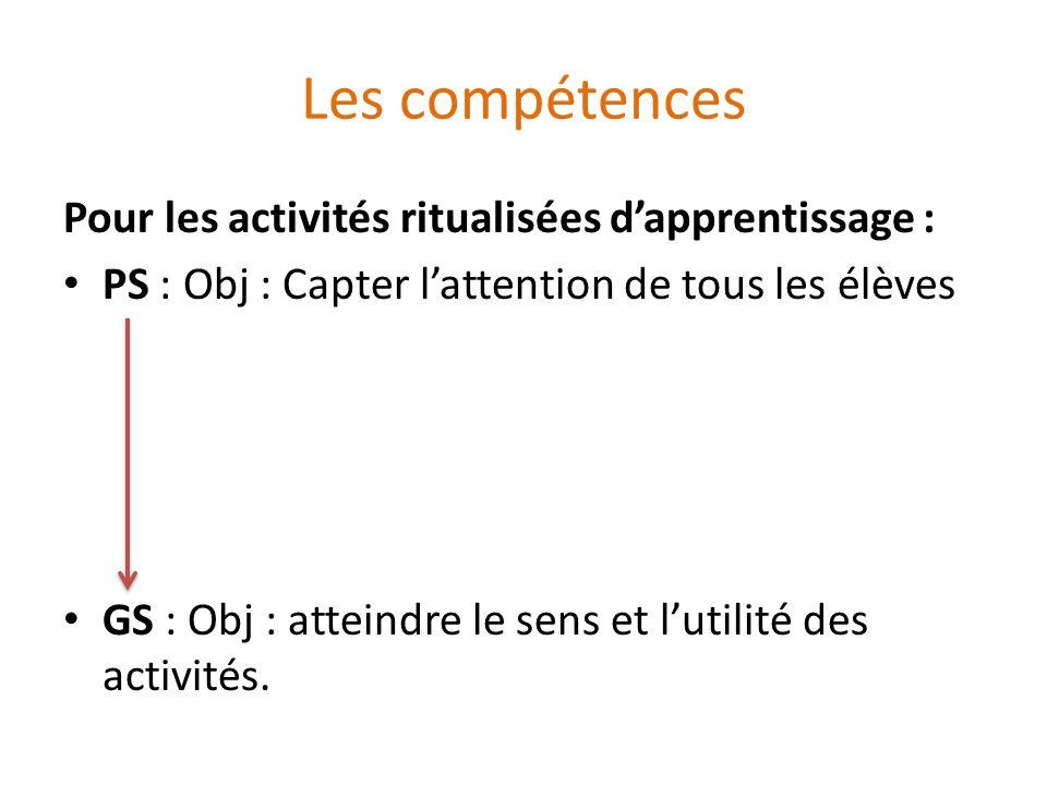 Les compétences Pour les activités ritualisées dapprentissage : PS : Obj : Capter lattention de tous les élèves GS : Obj : atteindre le sens et lutili