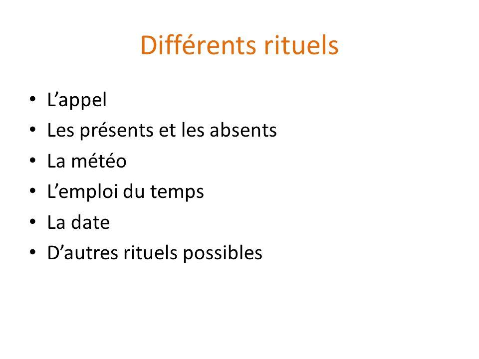 Différents rituels Lappel Les présents et les absents La météo Lemploi du temps La date Dautres rituels possibles