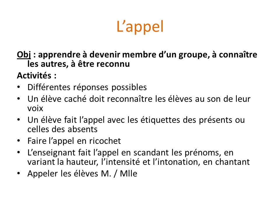 Lappel Obj : apprendre à devenir membre dun groupe, à connaître les autres, à être reconnu Activités : Différentes réponses possibles Un élève caché d