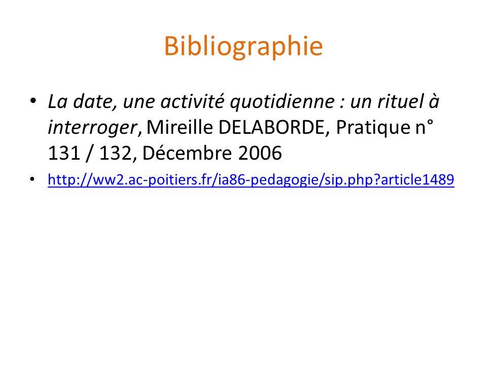 Bibliographie La date, une activité quotidienne : un rituel à interroger, Mireille DELABORDE, Pratique n° 131 / 132, Décembre 2006 http://ww2.ac-poiti