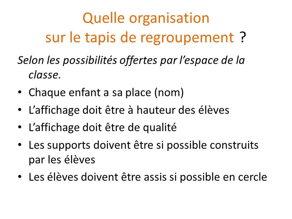 Quelle organisation sur le tapis de regroupement ? Selon les possibilités offertes par lespace de la classe. Chaque enfant a sa place (nom) Laffichage
