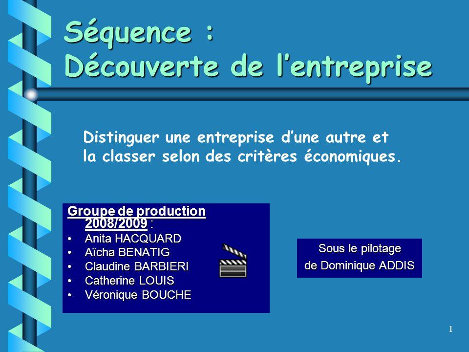 1 Séquence : Découverte de lentreprise Groupe de production 2008/2009 : Anita HACQUARDAnita HACQUARD Aïcha BENATIGAïcha BENATIG Claudine BARBIERIClaudine BARBIERI Catherine LOUISCatherine LOUIS Véronique BOUCHEVéronique BOUCHE Sous le pilotage de Dominique ADDIS Distinguer une entreprise dune autre et la classer selon des critères économiques.