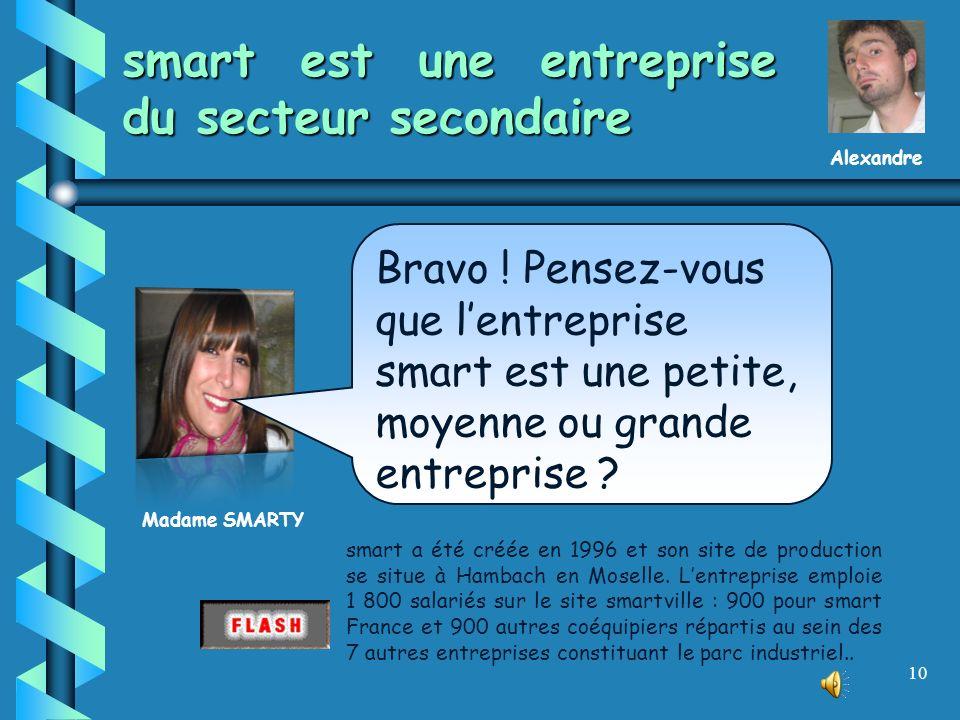 9 smart est une entreprise industrielle… On classe les entreprises selon le secteur économique : primaire, secondaire, tertiaire, quaternaire. Madame