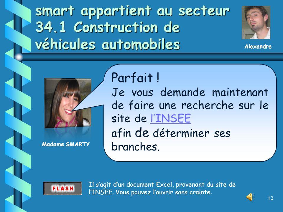 11 smart est une grande entreprise *INSEE : Institut National de la Statistique et des Etudes Economiques (www.insee.fr)www.insee.fr LINSEE* classe le