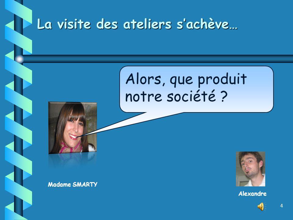 Madame SMARTY 4 La visite des ateliers sachève… Alors, que produit notre société ? Alexandre
