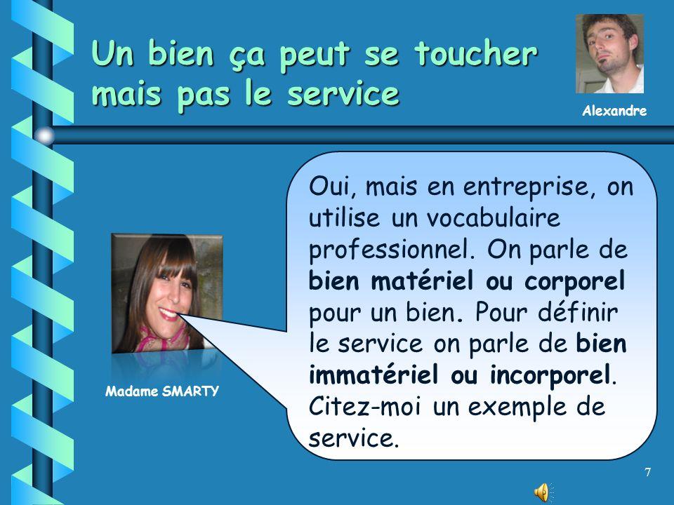 6 Un bien… Madame SMARTY Exact !… Comment, à votre avis, peut-on différencier un bien dun service ? Alexandre