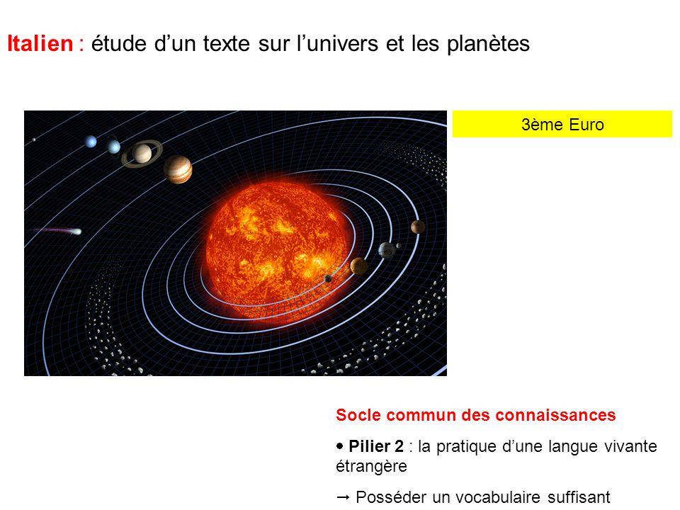 3ème Euro Italien : étude dun texte sur lunivers et les planètes Mes amis, pas sur ce ton-là .