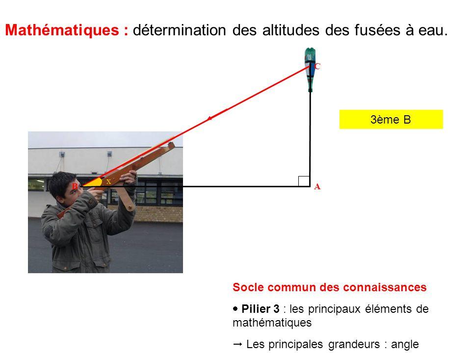 3ème B Mathématiques : détermination des altitudes des fusées à eau.