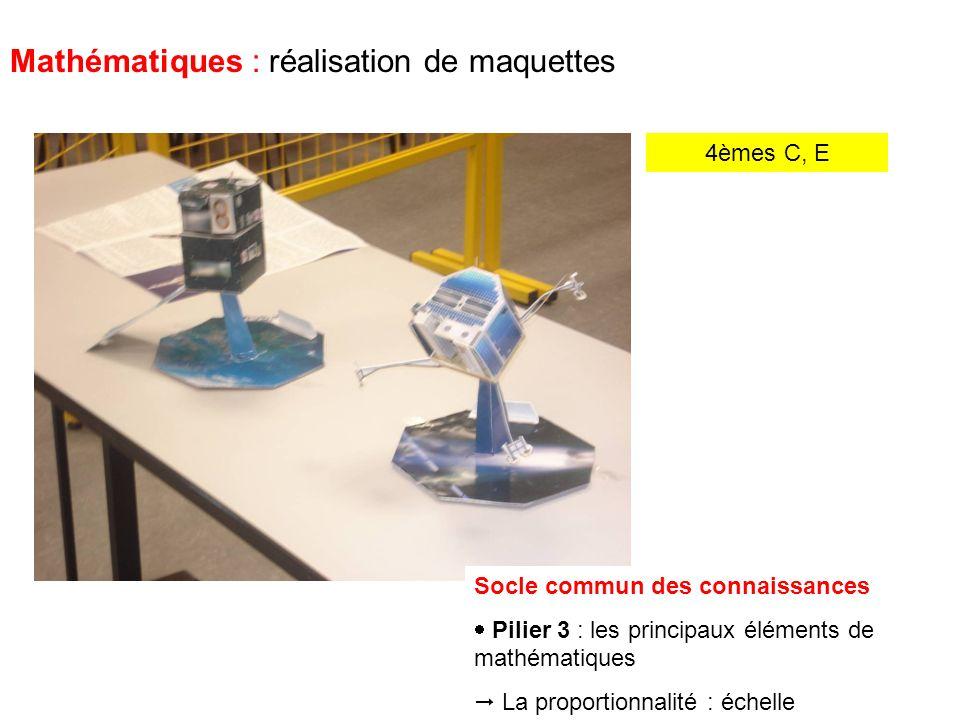 4èmes C, E Mathématiques : réalisation de maquettes Mes amis, pas sur ce ton-là .