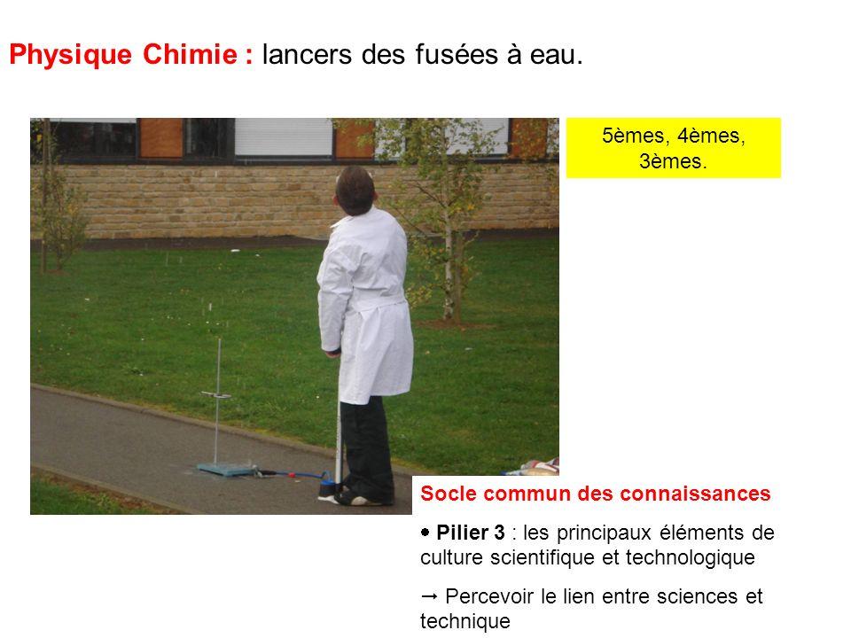 5èmes, 4èmes, 3èmes. Physique Chimie : lancers des fusées à eau.