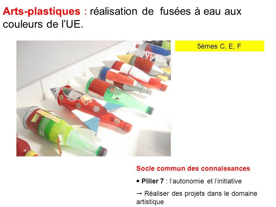Arts-plastiques : réalisation de fusées à eau aux couleurs de lUE.