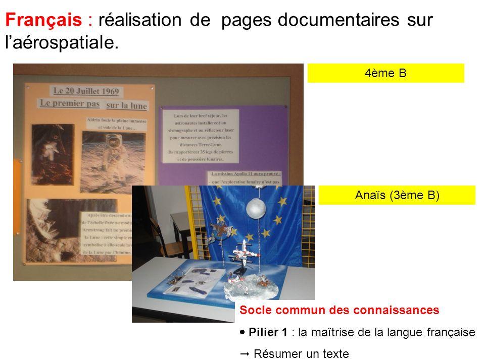 Français : réalisation de pages documentaires sur laérospatiale.