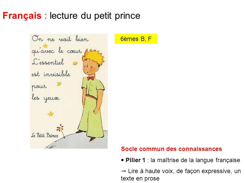 Français : lecture du petit prince Socle commun des connaissances Pilier 1 : la maîtrise de la langue française Lire à haute voix, de façon expressive, un texte en prose 6èmes B, F