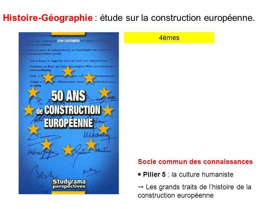 Histoire-Géographie : étude sur la construction européenne.