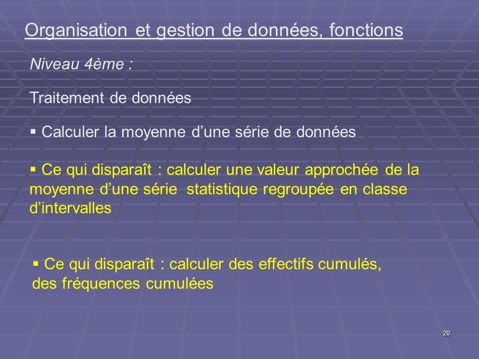 20 Organisation et gestion de données, fonctions Niveau 4ème : Traitement de données Calculer la moyenne dune série de données Ce qui disparaît : calc